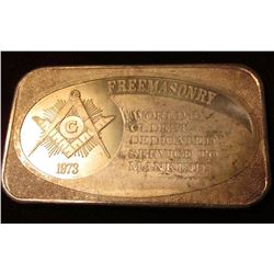 """1973 Freemasonry World's Oldest Dedicated Service to Mankind"", ""United States Silver Corporation On"