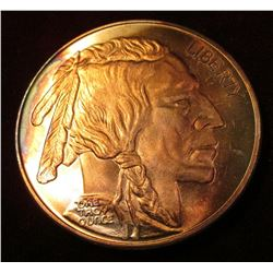 One Troy Ounce .999 fine Silver Buffalo/Indian Style design. Gold toned.