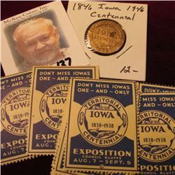 "(12) Iowa Territorial Exposition 1838-1938 Centennial Stamps & a brass medal ""Centennial Celebration"