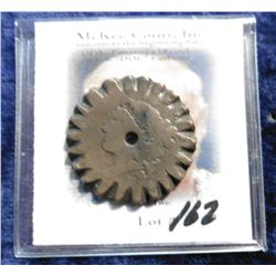 Old U.S. Large Cent Cut and designed like either a cog-wheel or a gear.