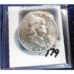 1951 D Franklin Half-Dollar. Brilliant AU-Unc.