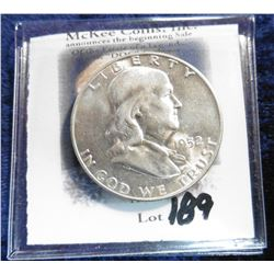 1952 D Franklin Half-Dollar. Toned Unc.