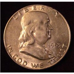 1953 D Franklin Half-Dollar. Brilliant AU-Unc.