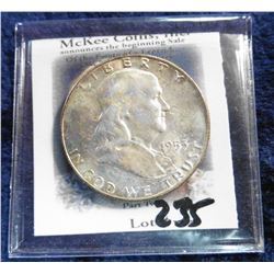 1953 D Franklin Half-Dollar. Superb Gem BU with lovely toning.