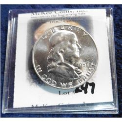 1957 D Franklin Half-Dollar. Brilliant Uncirculated.