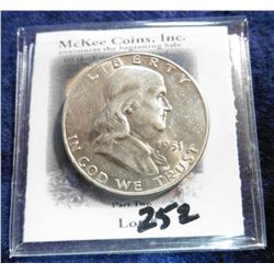 1951 D Franklin Half-Dollar. Brilliant AU.