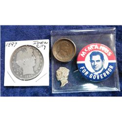 "Cut-out Mercury Head from a Silver Dime; Domed 1919 S Lincoln Cent; ""McManus for Governor"" Pin-back;"