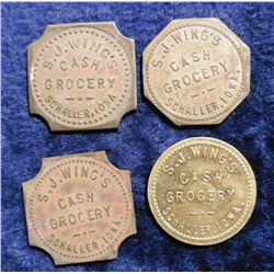 (4) Different Schaller, Iowa Good For Tokens. 5c, 10c, & (2) $1.00.