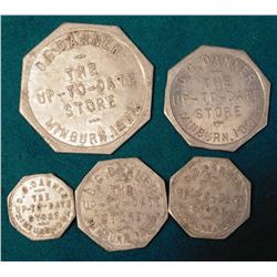 "(5) Different ""D.G. Danner"" Minburn, Iowa Good For Tokens. 5C, 10c, 25c, 50c & $1.00."