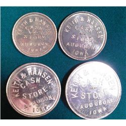 "(4) Different ""Keith & Hansen Cash Store"" Audubon, Iowa Good For Tokens. 10c, 25c, 50c, & $1.00."