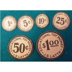 "(6) Different ""Educational Toy Money J.S. Latta"" Cardboard tokens. (Cedar Falls, Ia.) 1c, 5c, 10c, 2"