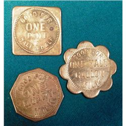 """(3) Different """"Jersey Dairy Spencer, Iowa"""" Good For Tokens. One Quart, One Pint, & One Half Gallon."""
