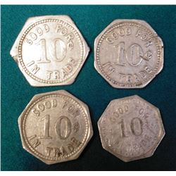 (4) Different Tavern Tokens from Vinton, Iowa.