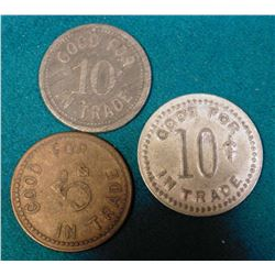 "(3) ""Richmond's Tavern Frederika, Iowa"" Good for Tokens. All different. 5c & (2) 10c."