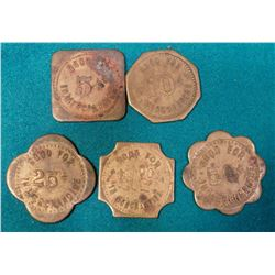 "(5) Different ""Bobzin's Corner Store"" Kellogg, Iowa Good For Tokens. 5C, 10c, 25c, 50c & $1.00."