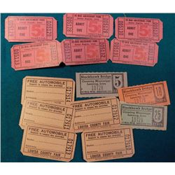"(7) Sequentially numbered Tickets for a ""Free Automobile...Louisa County Fair""; (6) sequentially num"