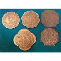 """S.J. Wings/Cash/Grocery/Schaller, Iowa."" 5 pcs. Set of Good For Tokens. 5c, 10c, 25c, & (2) differe"