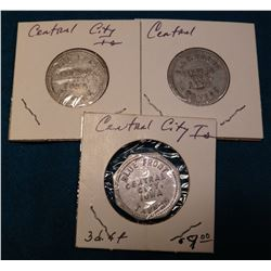 """Blue Front/Central/City,/Iowa/Tavern"", 3 pcs. Good For Token Set. All three different. 5c & (2) 10c"