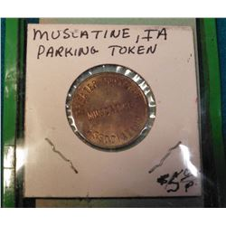 Muscatine, Iowa Merchant's Bridge Token 5c Scrip & Muscatine, Ia. Parking Token in brass.