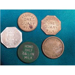 "(5) Different ""Fort Dodge Creamery"" Fort Dodge, Iowa Good For Tokens. (3) ""Quart of Milk"", ""One Pint"