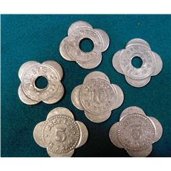 "(7 pcs.) ""Curley's Newhall, Iowa"" Good For Tokens. Three are hole canceled."