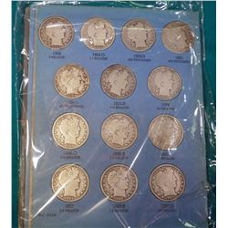 Partial Set 1904-1915D Barber Half Dollars in a blue Whitman folder. Missing only the 1913P, 14P, &