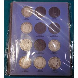 Partial Set 1892-1903 S Barber Half Dollars in a blue Whitman folder. Missing only the 1892 O, 92 S,