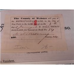 January 1865 Civil War Era County of Webster, Iowa $30 Draft on the Metropolitan Bank in the City of