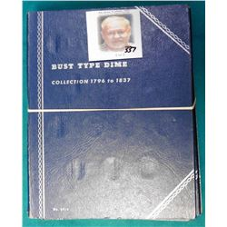 (7) Various blue Whitman folders. Most appear to be used. Includes U.S. Bust to Roosevelt Dimes book