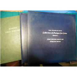 1892-1915 Barber Half Dollar green 1960 era Whitman heavy duty folder; & (2) empty Franklin Mint Alb