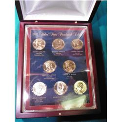 2012 U.S. Presidential Eight-piece Dollar Set in hardwood case.
