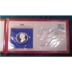 1989 Inauguration Day Cover and Sterling Silver George Bush Medal in original holder.