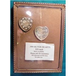 "Pair of .999 Fine Silver One Troy Ounce ""Especially For You"" Hearts. Great Valentine's Day present."