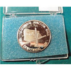 1874-1974 Columbus Junction, Iowa Centennial .999 Fine Silver Proof Medalion. Serial No. 93. In a fo