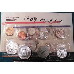 1959 P & D U.S. Mint Set in original cellophane. No envelope.