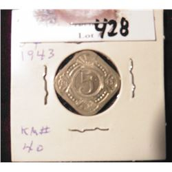 1943 Netherlands Antilles Curacao Five Cent, BU, but spotted, Catalog value $22.