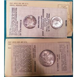 1884 O U.S. Morgan Silver Dollar and a pair of 1964 P Kennedy Half-Dollars in original Tidy House ad