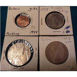 Great Britain Scarcities: 1948 Farthing BU, 1954 Two Shilling BU, 1954 & 64 Half Crowns BU.