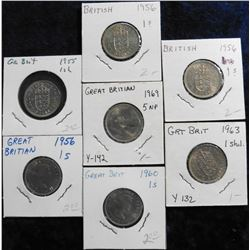 Uncirculated Great Britain Shillings: 1955, (3) 56, 60, 63, & 69.