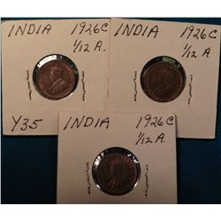 (3) 1926 C British India 1/12 Anna (1 Pie) KM # 509. Red-Brown Uncirculated. KM value $30.00.