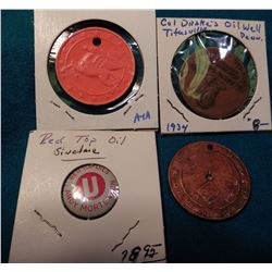 """Captain Midnight"" Medal; 1940 era Mobile Oil Token; ""Red Top Oils..."" Pinback; & ""Col. Edwin L. Dra"