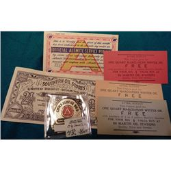 "(3) Different Good For Tickets for ""One Quart Marco-Penn Winter Oil""; 2 ½ Coupons ""Southern Oil Stor"