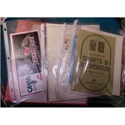 "Three Ring Notebook with Good Sports (non Baseball) Paper Items. Includes ""Checklist of Sports & Rec"