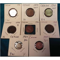 (8) Ceylon Coins dating 1870 to 1937 with grades up to AU. Catalog value $20+.