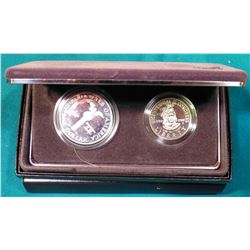 1989 S U.S. Bicentennial of Congress Proof Silver Dollar and clad Half-Dollar. In original U.S. Mint