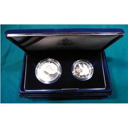 1993 S U.S. Bill of Rights Two-Coin Proof Commemorative Set. Silver Dollar and clad Half-Dollar. In