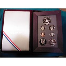 1992 S U.S. Prestige Proof Set with Commemorative Silver Dollar. In original U.S. Mint box as issued
