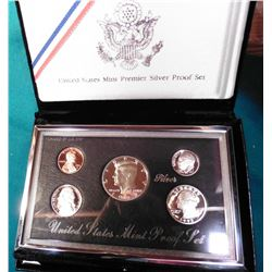 1992 S U.S. Premier Silver  Proof Set. In original U.S. Mint box as issued.