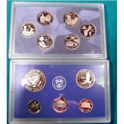 2008 S U.S. Proof (5) Quarter, Cent, Nickel, Dime, & Half Dollar in original plastic cases.