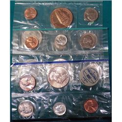 1976 D U.S. Denver Mint Set in cellophane with Souvenir Mint Medal; 1962 & 1964 Blue Packs U.S. Mint